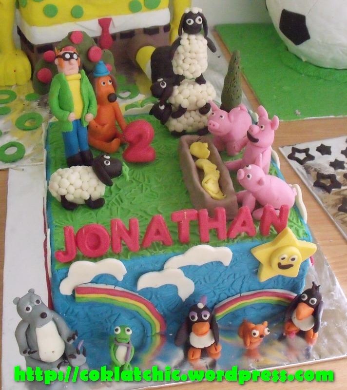 Kue ulang tahun dengan tema Cake shaun the sheep dan bernard bear