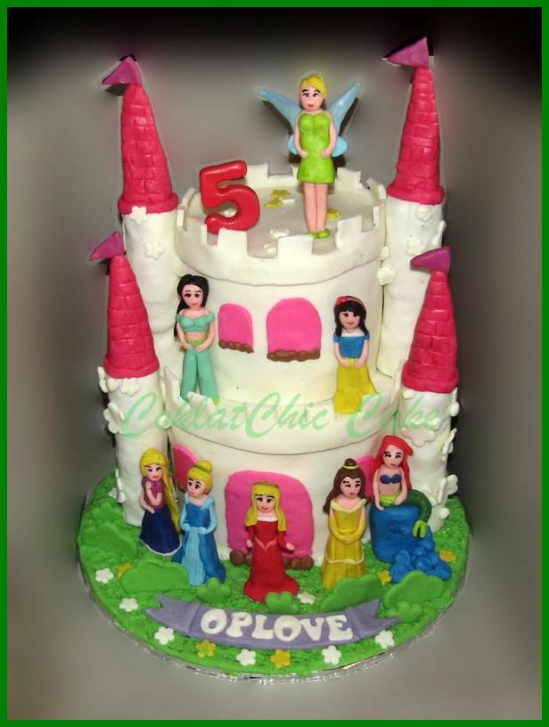 Cake Disney Princess Castle Oplove Coklatchic Cake